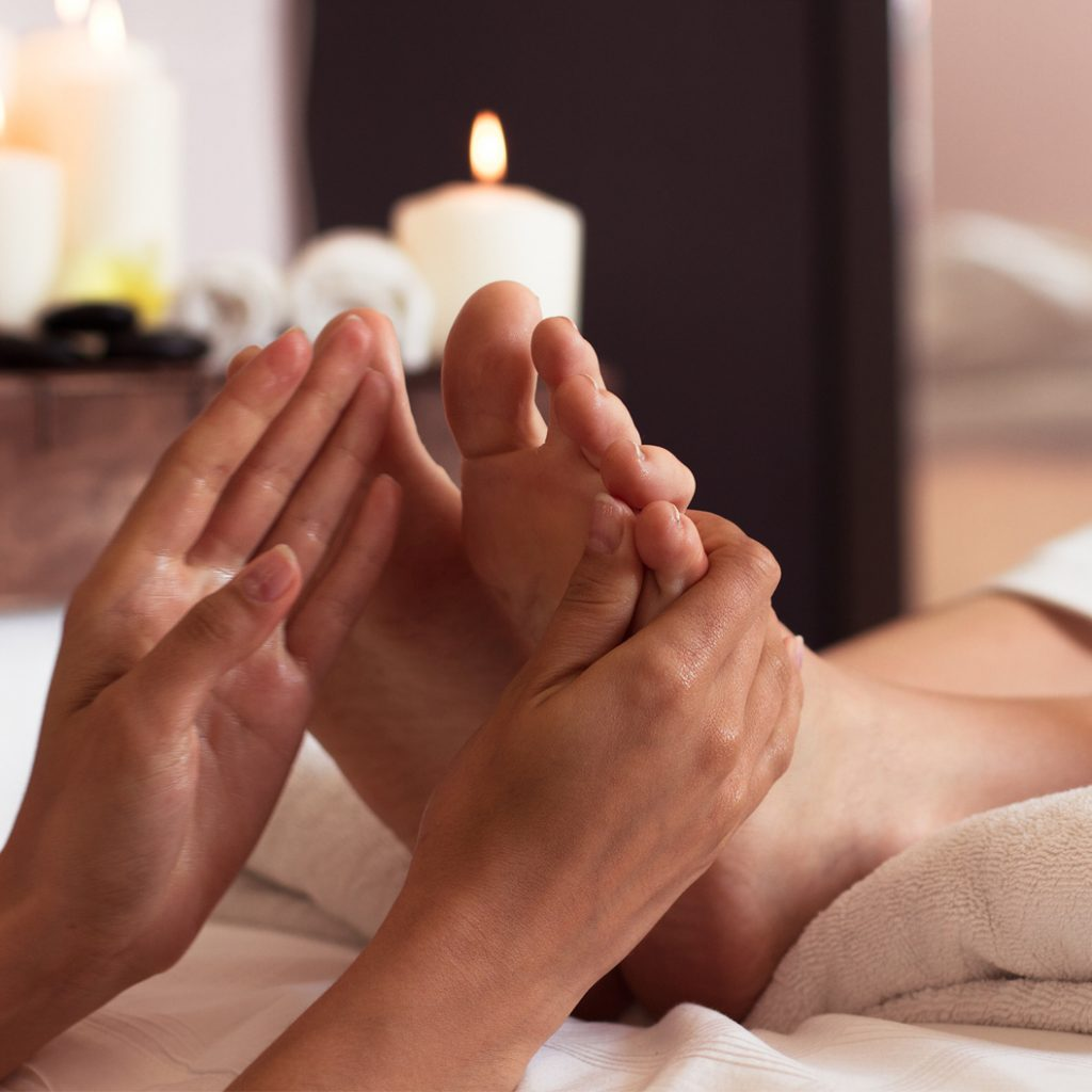 Hot towel foot massage